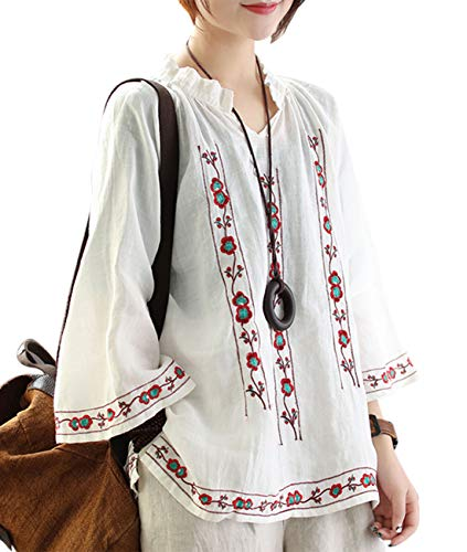 YESNO Women Fashion Casual Blouse Tops Ethnic Floral Embroidery Flare Cuff Side Slit EGC (L, White)
