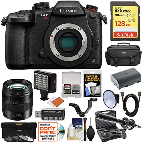 Cheap Panasonic Lumix DC-GH5S Wi-Fi C4K Digital Camera Body with 12-35mm f/2.8 Lens + 128GB Card + Battery + Case + LED Light & Flash + Mic Kit