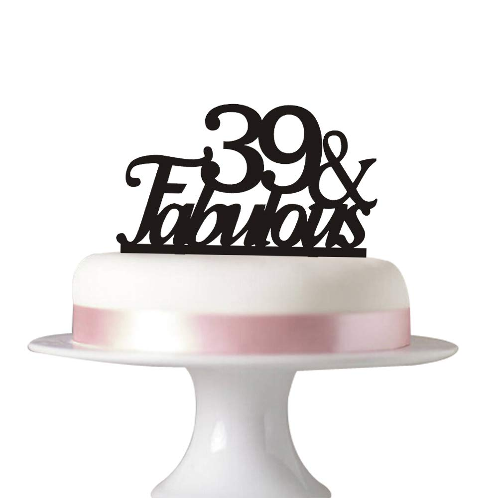 Amazon 39 Fabulous Cake Topper For 39th Birthday Party Decorations Black Acrylic Kitchen Dining