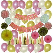 55 Pcs Happy Birthday Party Decorations, Pink and Gold Reusable Banner, Balloons, Pom pom flowers, Fans, Tassels by Ozic