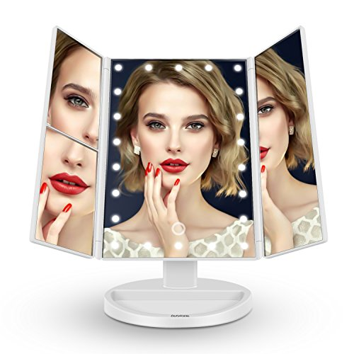 butyface Makeup Mirror with Lights, Lighted Vanity Mirror with 10x/3x/2x Magnification,Trifold Mirror with 21 Led Lights,Touch Screen, 180° Rotation,Dual Power Supply, Countertop Cosmetic Mirror by butyface