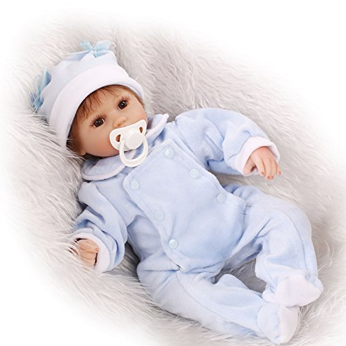 - biggoodever Reborn Baby Doll Soft Silicone 18in. 45cm Toy Boy Toy Blue Boy Girl