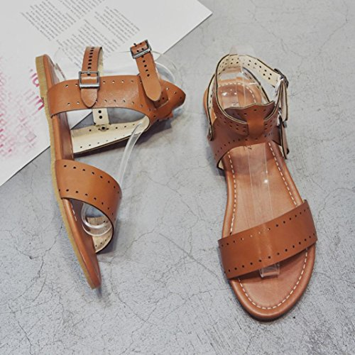 HLHN Women Sandals,Roman Ankle Buckle Strap HollowFlat Heel Open-Toe Shoes Casual Vintage Beach Yellow