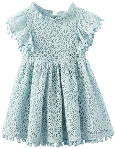 2Bunnies Girl Vintage Lace Pom Pom Trim Birthday Party Dress (Mint, 2T)