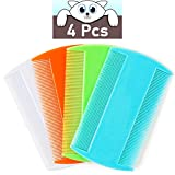 MoHern Flea Comb for Cats, 4 Pcs Lice Comb for Dogs, Double Sided Cat Comb for Short Hair of Pets or Humans