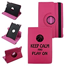 Keep Calm And Play Basketball On IPad Mini 4 Leather Rotating Case 360 Degrees Multi-angle Vertical and Horizontal Stand with Strap (Hot Pink)