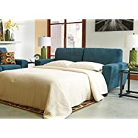 Sagen Collection 9390239 86 Queen Sofa Sleeper with Microfiber Upholstery Track Arms Tapered Legs and Contemporary Style in Teal