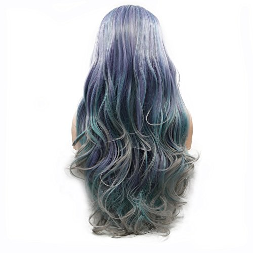 Dark Roots Ombre Pastel Purple/Blue Green/Gray Four Tone Body Wave High Temperature Long Synthetic Hair Middle Parted Handmade Lace Front Wigs for Drag Queen Glueless Synthetic Wig 24inches ()