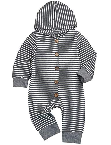 Baby Boy Girl Clothes Gray Striped Jumpsuit, Toddler Hoodie Romper Long Sleeve Bodysuit