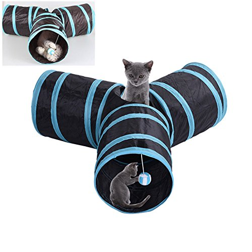 Collapsible Cat Tunnel 3 Way Out Tube Kitten Rabbit Pet Pop Up Indoor Play Toys