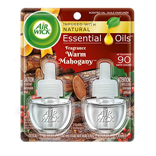 Air Wick Scented Oil 2 Refills, Warm Mahogany, (2X0.67oz), Air Freshener