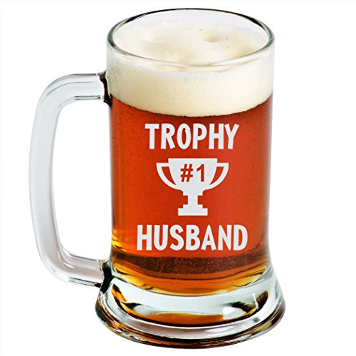 Trophy Husband - Engraved Beer Mug - 16oz - Clear Glass - Funny Gifts for Men and Women by Sandblast Creations