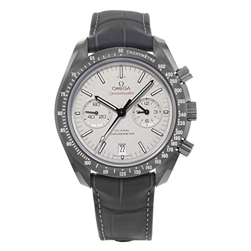 Omega Speedmaster Professional Grey Side of The Moon Chronograph Automatic Sandblasted Platinum Dial Grey Leather Mens Watch 31193445199001 - Omega Watch Speedmaster Moon