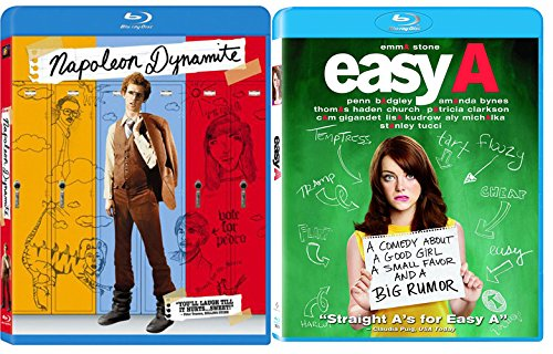 Easy A High School Movie Blu Ray + Napoleon Dynamite Blu Ray Sweet Fun Comedy movie Set Combo Edition