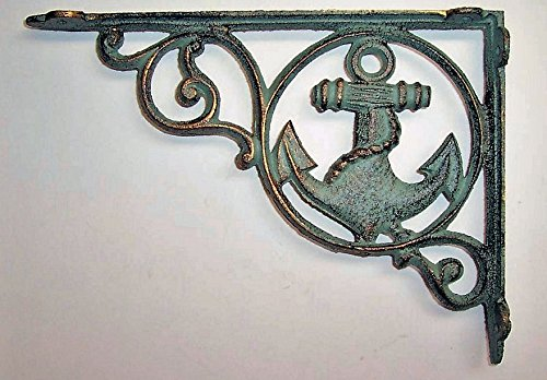Aunt Chris' Products - Heavy Cast Iron - Sail Boat Shelf Bracket - Nautical Green - Rustic Color Finish With Gold Accents - All-Purpose - Indoor or Outdoor Use (Finish Gold Green)