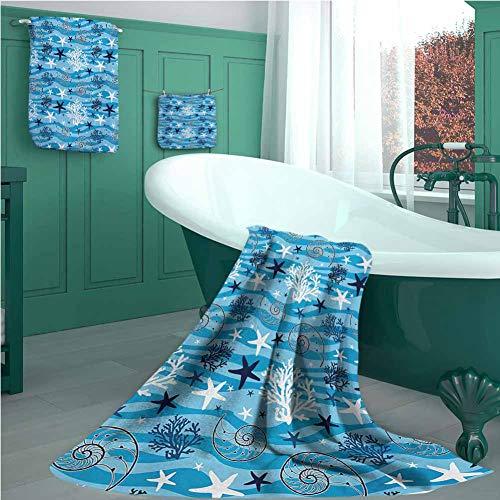 Seashells Luxury Bathroom 3-Piece Towel Set, Nautical Underwater Universe Collection of All Creatures Scallop…
