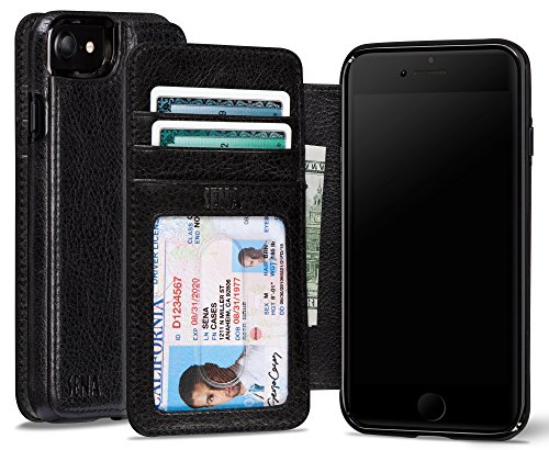 Sena Premium Stand Case (Sena Heritage Walletbook, Drop safe leather wallet book case for the iPhone 8 & 7 - Black)
