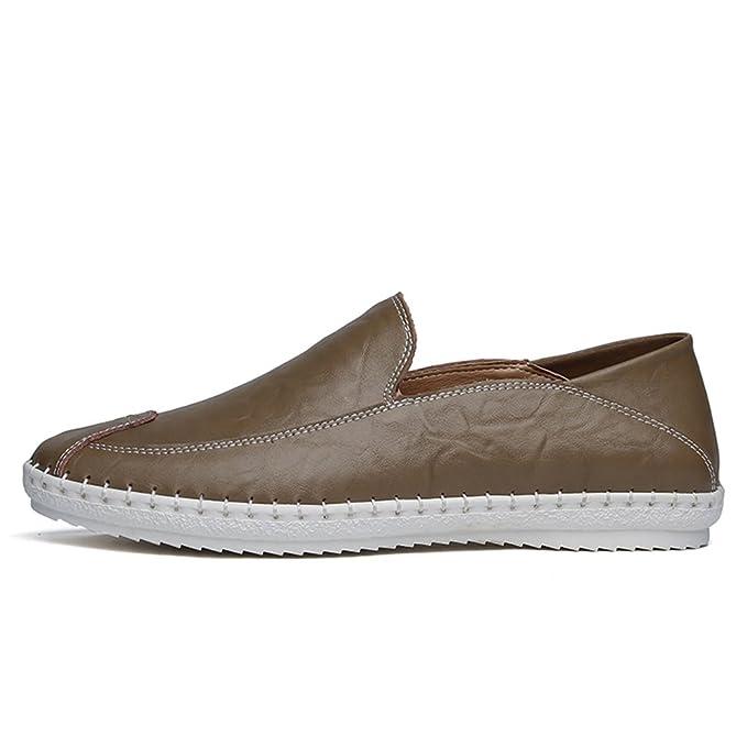 Ofgcfbvxd Casual Hombre Mocasines de Cuero de la PU de la Moda Color sólido Que Conduce los Mocasines del Barco Zapatos Formales (Color : Marrón, ...