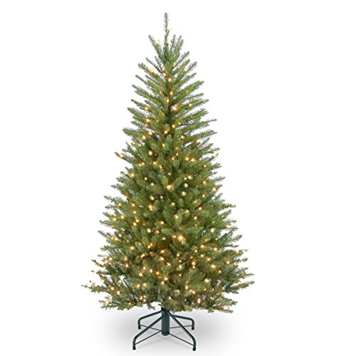 National Tree 4.5 Foot Dunhill Fir Slim Tree with Clear Lights - Little Christmas Tree Company