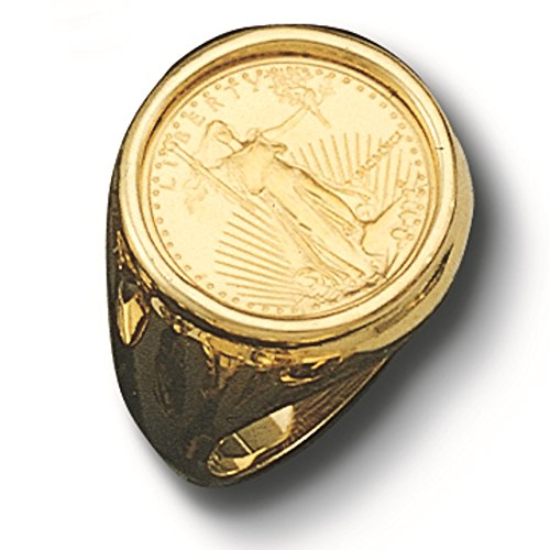 14 Kt Solid Yellow Gold Mens Ring With 22 Kt 1/10 Oz Us Lady Liberty Coin (Random Year) ()