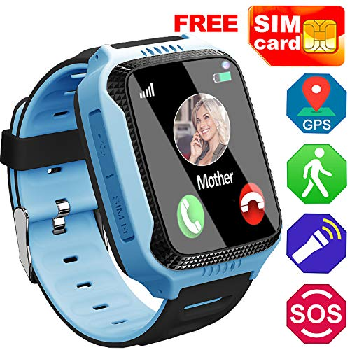 [SIM Card Included] Smart Watch for Kids- GPS Locator Pedometer Fitness Tracker Touch Camera Games Light Touch Anti Lost Alarm Clock Wrist Cell Phone Smartwatch Bracelet for Girls Boys Ages 3-12(Blue)