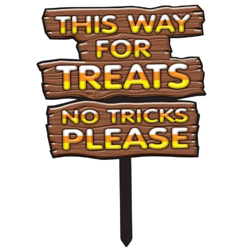 This Way For Treats-No Tricks Sign]()