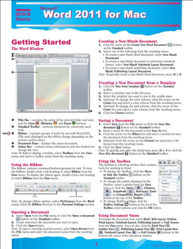 Word 2011 for Mac Quick Source Reference Guide