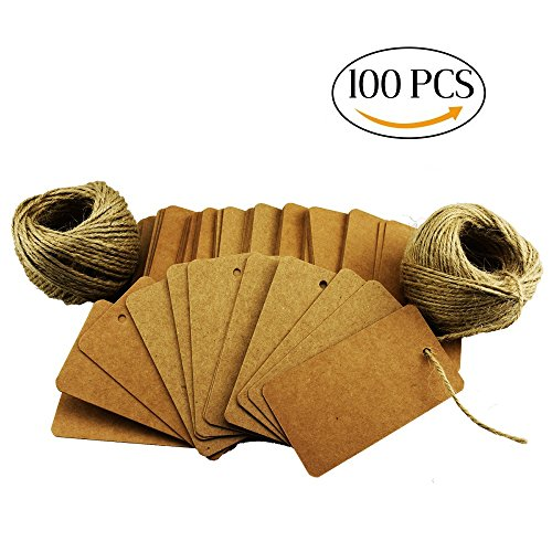 100Pcs Khaki Escort Card Tag, Kraft Paper Gift Tags with 164ft Natural Jute Twine for Key Bottle Openers, Weddings, Parties and Special Events Decoration (Gift Tags Graduation)