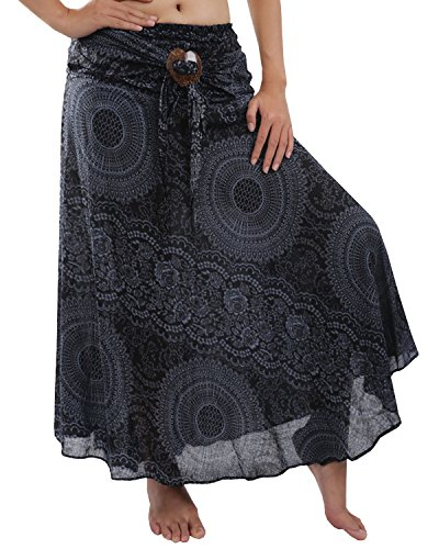 Rita & Risa Women/'s Hippie Circle Boho Flowers Design Harem Strapless Dress or Skirt, Black, One-Size