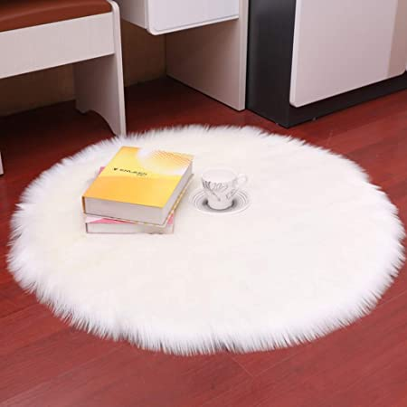 DQMEN Carpets Soft Artificial Sheepskin Faux Fleece Chair Cover Seat Pad Soft Fluffy Shaggy Area Rugs For Living Room Sheepskin Style Rug (White, 60 X
