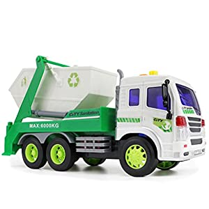 [Engineering Toy] Purifier Recycle Trash Car Truck Friction Powered 1:16 With Light&Music 6 Wheels (B)