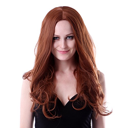 HDE Womens Long Wavy Wig Curly Glamour Hair Style for Halloween Cosplay Costumes (Long Wavy Auburn)