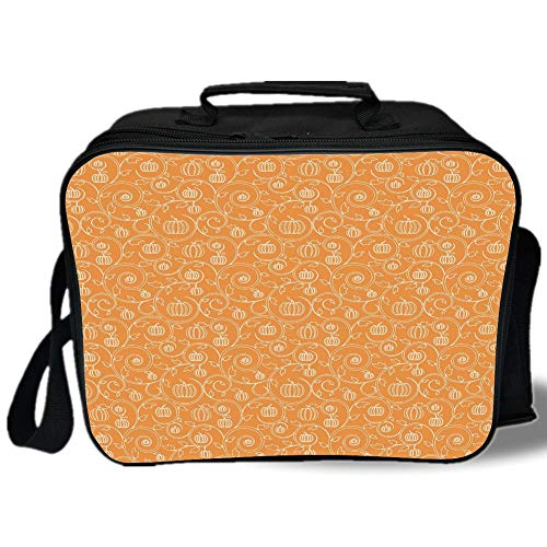 Harvest 3D Print Insulated Lunch Bag,Pattern with Pumpkin Leaves and Swirls on Orange Backdrop Halloween Inspired,for Work/School/Picnic,Orange White]()
