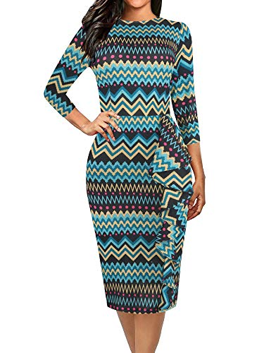oxiuly Women's Chic Green Wave Stripe Stretchy Work Bodycon Sheath Pencil Casual Dress OX055 (M, Green Wave)