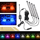 Xcellent Global 48 LEDs 8 Colors Car Interior Light Strip Light Waterproof Glow Neon Decoration Atmosphere Sound-activated Remote Control AT019