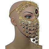 Gold Red Gem Belly Dance Costume Headwear Coins Face Mask Veil Tribal Bedouin Burka Burqa,Gold, One Size