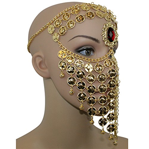 Gold Red Gem Belly Dance Costume Headwear Coins Face Mask Veil Tribal (Coin Tribal Belly Dance)