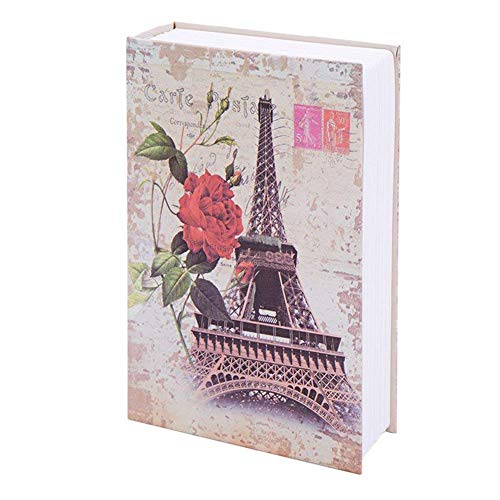 Book Safe Money Saving Bank Box Coin Bank with Lock Hide Key for Adult Kids Students (Small 7.1inch, Eiffel Tower)
