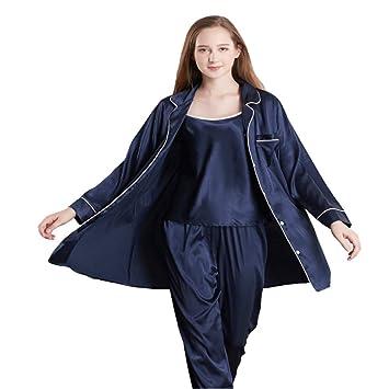 Loveni Pijamas De Seda De Las Mujeres Ropa De Casa De Seda De Las Señoras Ropa Casual Pantalones Sling Batas 3 Conjuntos De Pijamas,Blue,M: Amazon.es: ...