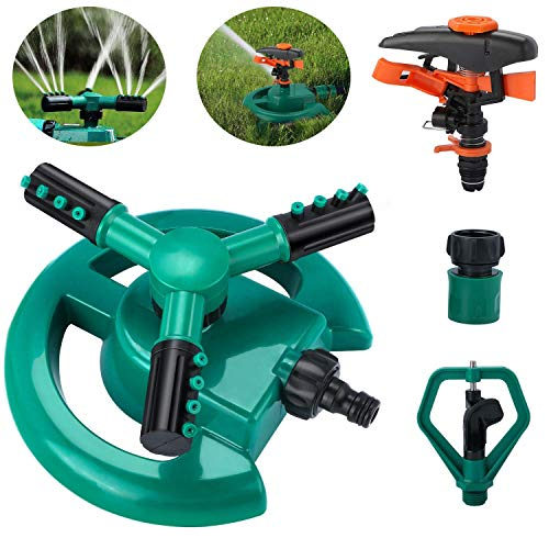 Lawn Sprinkler, Vimpro Lawn Watering Sprinkler Garden Sprinkler 3 Arm with Impact Sprinkler Automatic 360 Degree Rotating, Adjustable Angle and Distance Lawn Irrigation System