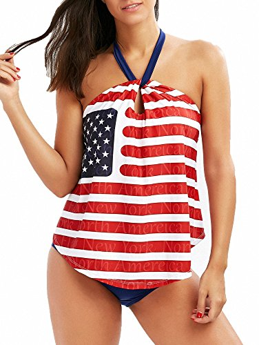 Ytwysj Women's Vintage Letter Printing American Flag Open Back Halter Neck Swimsuit Tankini with Solid Briefs - Back Halter