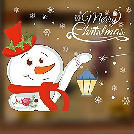 Christmas Santa Claus Snowman Reindee Window Wall Stickers Removable Mural For Home Decoration 25*70cm 2 PCS (C) Heekpek®
