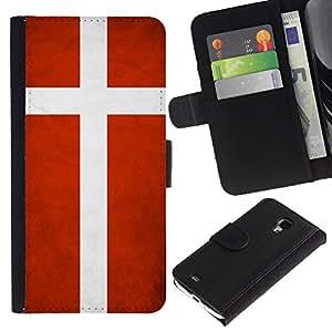 LASTONE PHONE CASE / Lujo Billetera de Cuero Caso del tirón Titular de la tarjeta Flip Carcasa Funda para Samsung Galaxy S4 Mini i9190 MINI VERSION! / National Flag Nation Country Denmark