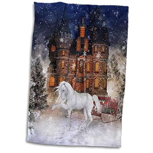 east urban home A Horse Stands in a Winter Landscape Next to a House and a Sleigh Hand Towel A71781 from east urban home
