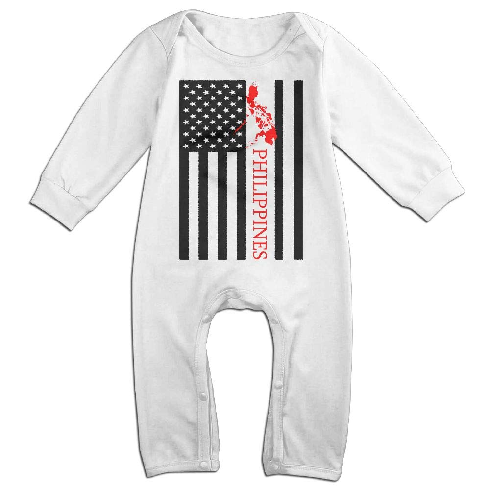 UGFGF-S3 American Flag Philippines Map Long Sleeve Infant Baby Boy Girl Baby Romper Jumpsuit Onsies for 6-24 Months Bodysuit