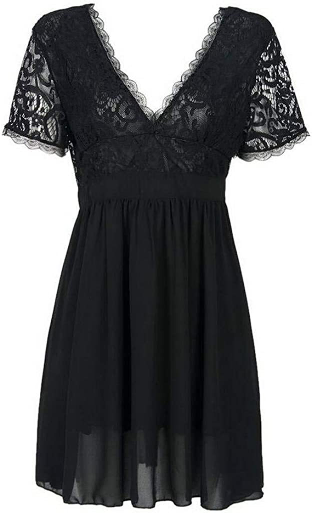 COMVIP Women V-Neck Lace Patchwork Night Clubwear Mini Dress Black