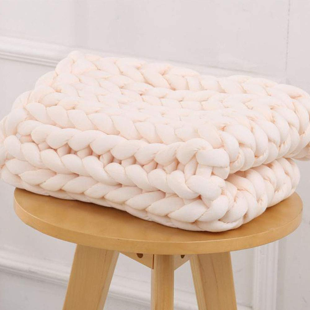 Arm Knit Chunky Blanket 40''x60'' Giant Knit Blanket,Braid Cotton Blanket,Beige Super Chunky Knit Throw Home Bedroom Blanket by Hand Knit Blanket (Image #2)