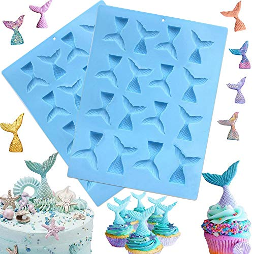 SAKOLLA Mermaid Tail Silicone Mold - 2 Pack Mermaid Molds for Fondant, Cake Decoration, Chocolate, Cupcakes, Candy, Jello, Ice Tray