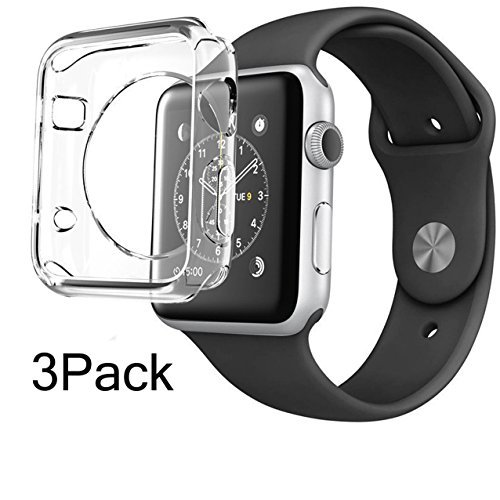 38mm CaseHQ Hard Soft TPU Transparent Full Body Screen Protector 0.3mm Thin Case Apple Watch Cover For Apple Watch / Watch Sport / Watch 2015(38mm) Crystal Clear (38mm 1Pack) (Plated Thin Stack)