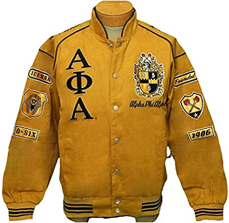1b94b4ef2 New! Mens Alpha Phi Alpha Gold & Black Fraternity,Inc Patch Racing Style  Jacket - X-Large